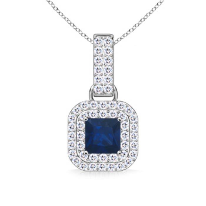 Angara Vintage-Inspired Square Sapphire and Diamond Halo Pendant cMfPXmV