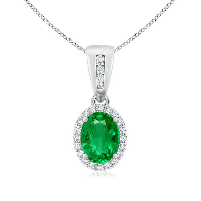 Angara Womens Emerald Necklace in Yellow Gold OBZg9UNzl