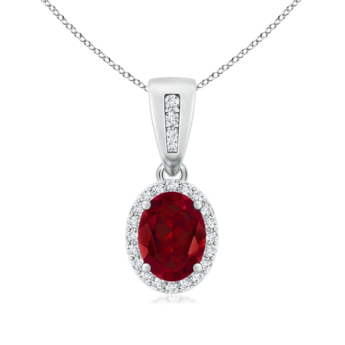 Angara Garnet and Diamond Halo Vintage Pendant in Rose Gold BznJI4yD