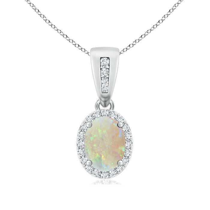 Angara Scallop-Edged Oval Opal Halo Pendant with Sapphire in Platinum Rl0dn