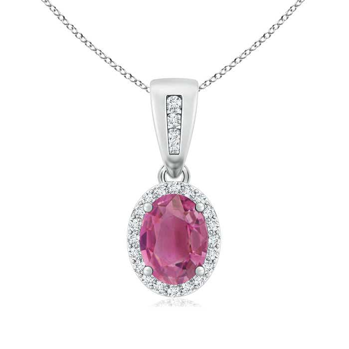 Angara Vintage Style Pink Tourmaline Pendant with Diamond Halo