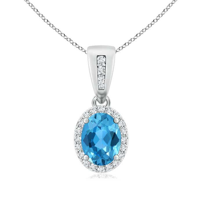 Angara Vintage Style Oval Swiss Blue Topaz Pendant with Diamond Halo 96hhvVPd