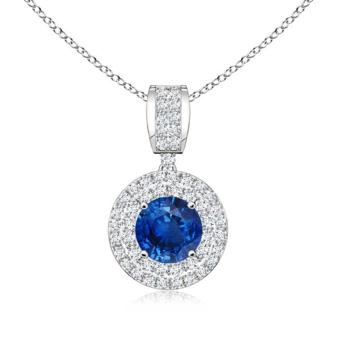 Angara Vintage-Inspired Sapphire Pendant with Diamond Double Halo TuzMUBMHvN