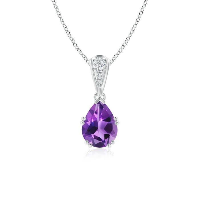 Angara Vintage Style Pear Ruby Drop Pendant with Diamonds ca14E