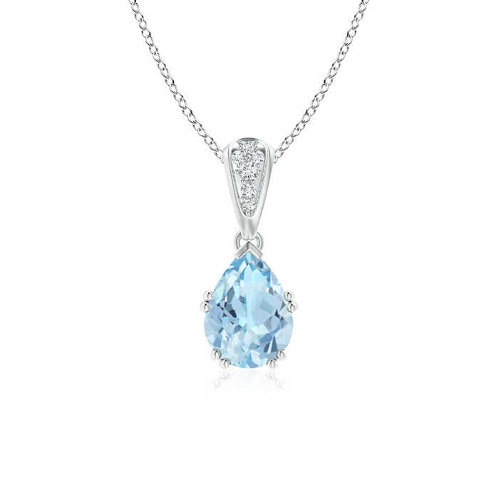 Angara Yellow Gold Pear Aquamarine and Diamond Necklace t6vT3