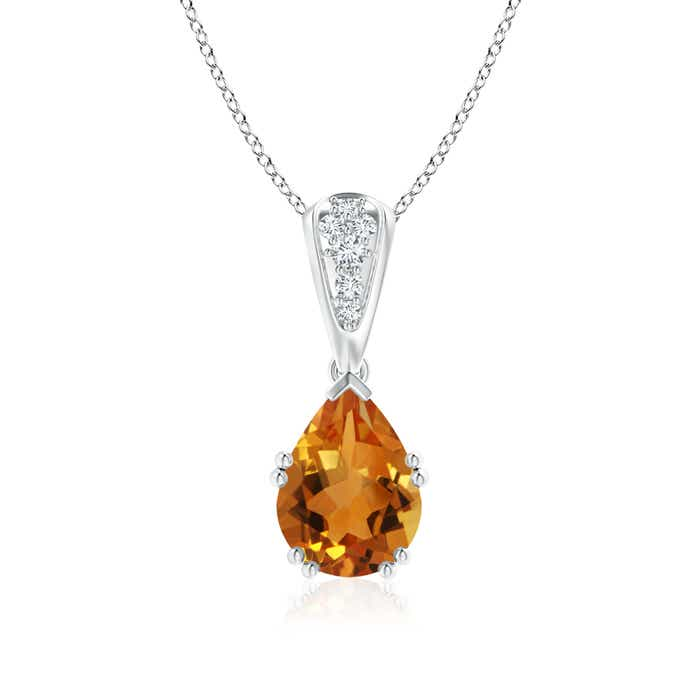 Angara Pear Shaped Citrine Drop Pendant with Diamond in 14K Rose Gold UJpPve1A