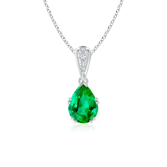 Angara Pear Shaped Emerald Necklace in Rose Gold iZYG9Y7g