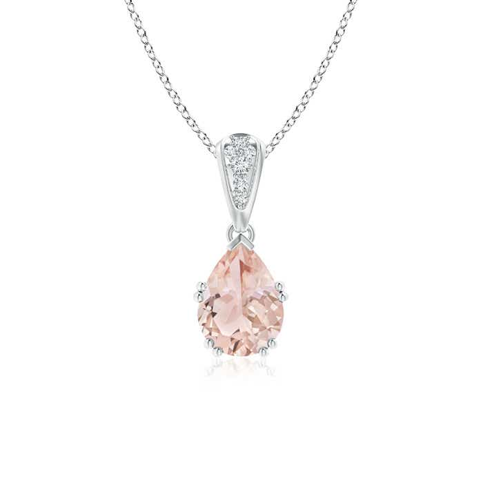 Angara Claw-Set Morganite Drop Pendant with Trio Diamonds neJK65nbm