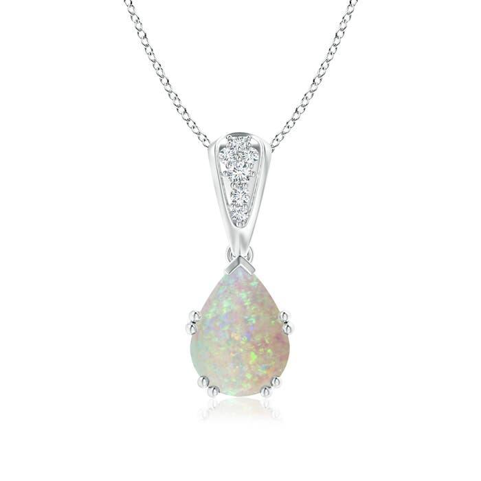 Angara Pear Opal Teardrop Necklace with Diamond in Yellow Gold x08I9YYQ