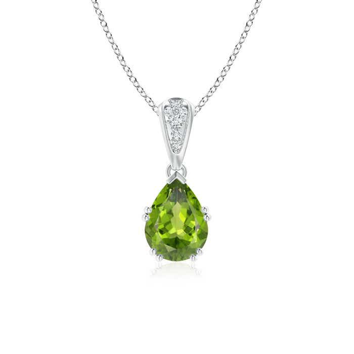 Angara Pear Peridot Diamond Pendant in 14k White Gold on0RRxxsMr