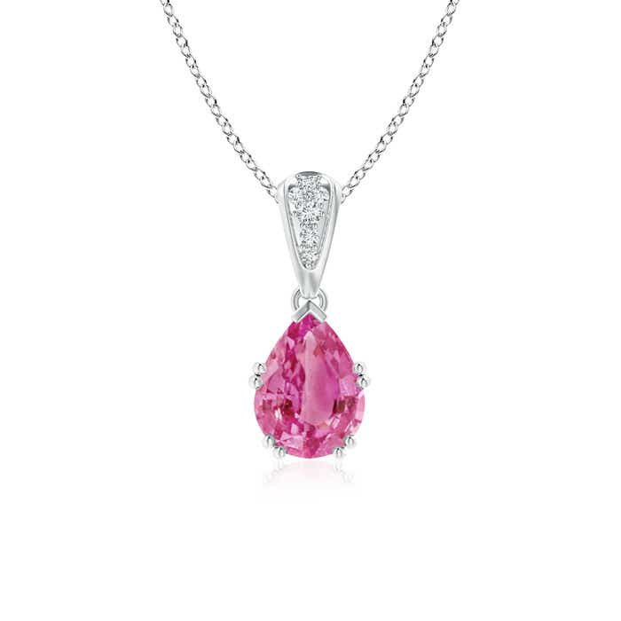 Angara Vintage Style Pear Pink Tourmaline Drop Pendant with Diamonds s1vgjSuYt