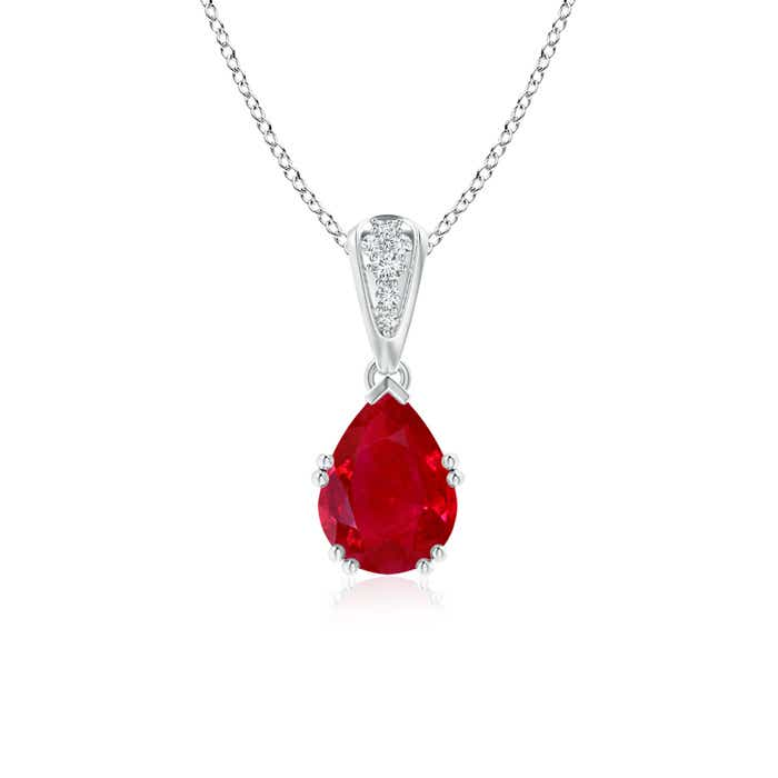 Angara Ruby Diamond Dangling Necklace in 14k White Gold 93pw8z