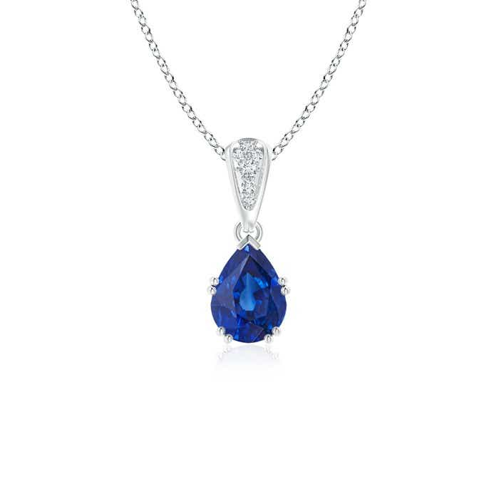 Angara Round Blue Sapphire Drop Pendant with Open Heart in 14k Rose Gold lxom02y