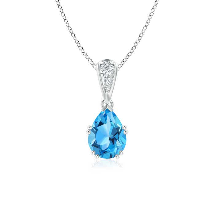 Angara Pear Shaped Swiss Blue Topaz Necklace in Yellow Gold