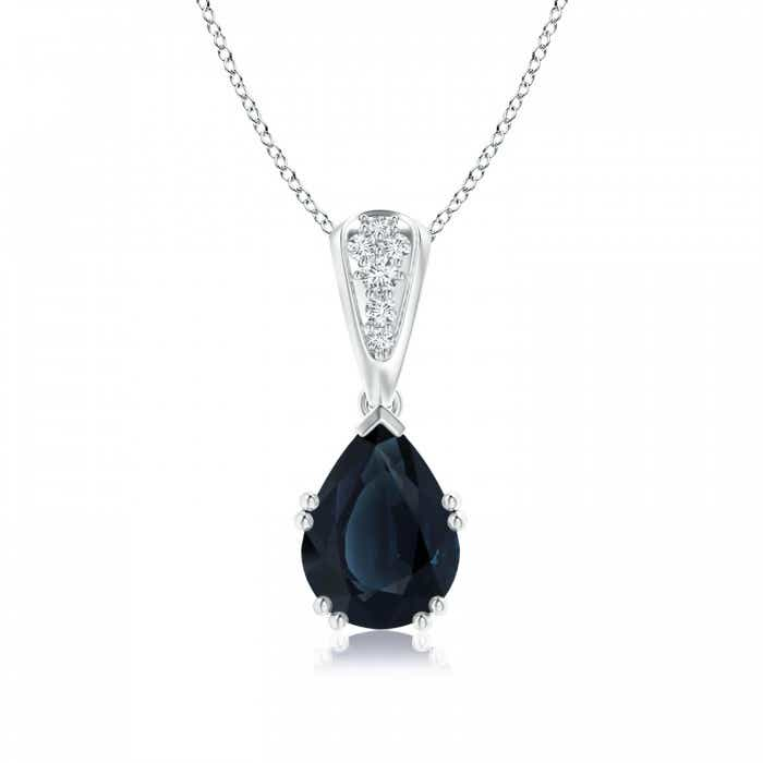 Angara Vintage Diamond and Sapphire Drop Pendant in Rose Gold LUf0KMX