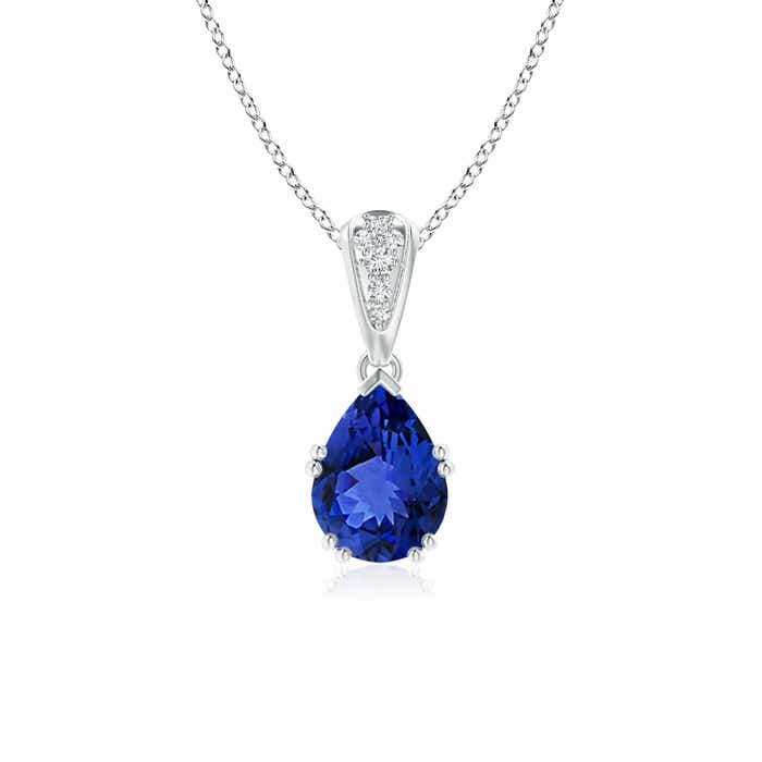 Angara 8x6mm Blue Sapphire Teardrop Necklace in 14k White Gold