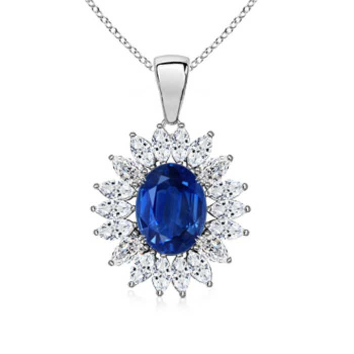 Angara Natural Sapphire and Diamond Halo Dangling Pendant in 14k Yellow Gold 4c4YA