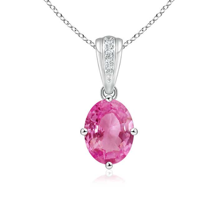 Angara Round Amethyst Pink Sapphire and Diamond Necklace in 14k White Gold 43GWas