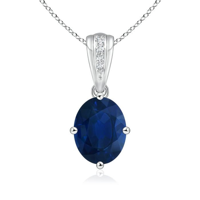 Angara Blue Sapphire Solitaire Pendant with Diamond in Platinum 5J21yQmZdZ