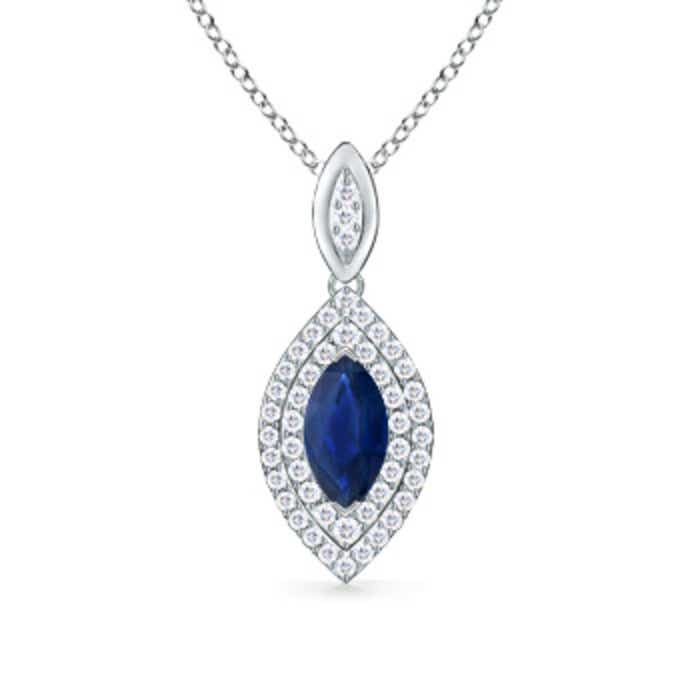 Angara Square Sapphire Necklace with Diamond Halo in 14K Yellow Gold MI02gAfr