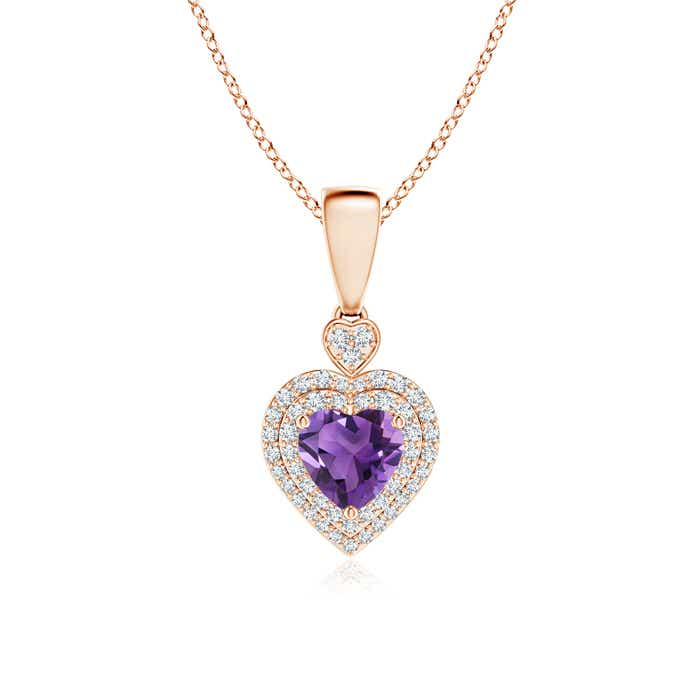 Angara Heart-Shaped Amethyst Pendant with Diamond Halo at0wFdfpH