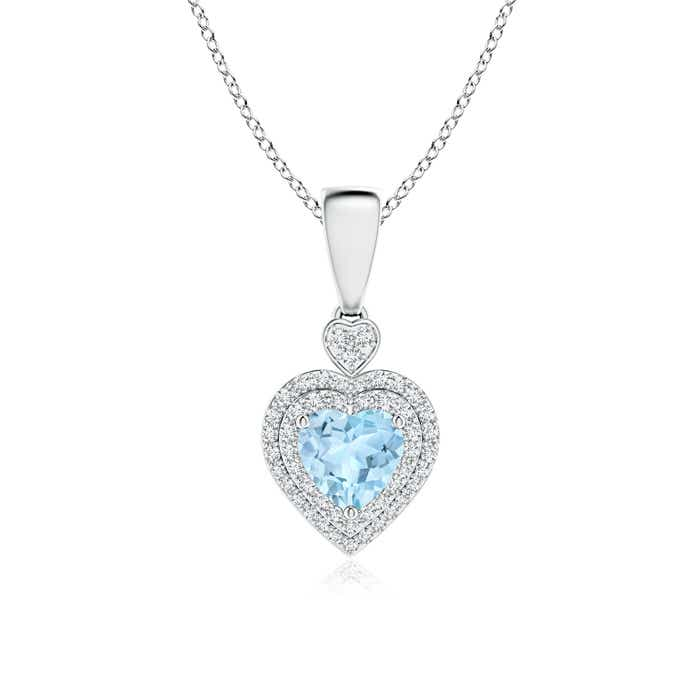 Angara Aquamarine Solitaire Necklace in Rose Gold Ox0vLHcCM
