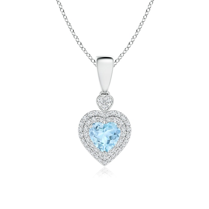 Angara Aquamarine Halo Pendant with Diamond Heart Motif b09K4bteg