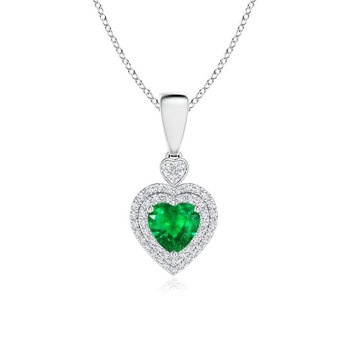 Angara Heart Shaped Emerald Necklace in Yellow Gold yUiEcHN2