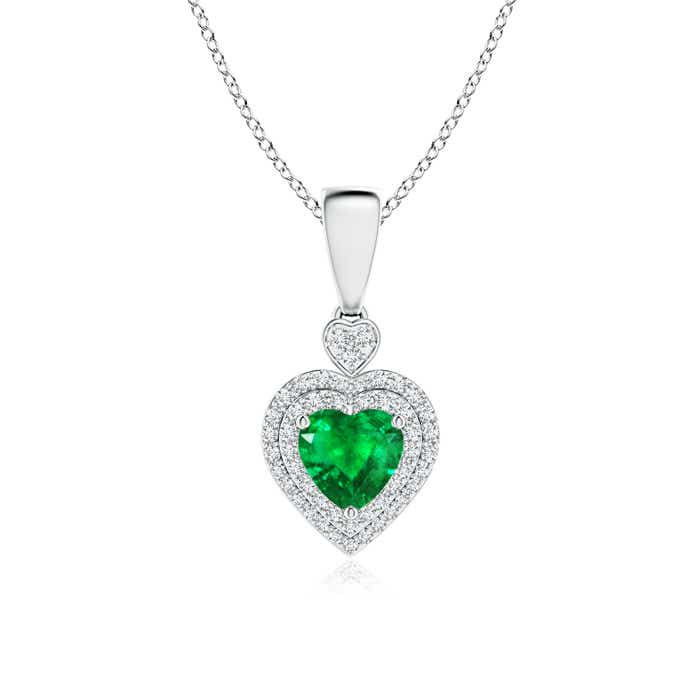 Angara Heart Shaped Emerald Pendant in White Gold