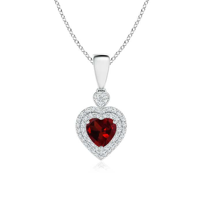 Angara Heart-Shaped Garnet Ribbon Pendant with Diamond O4ILkBpLFb