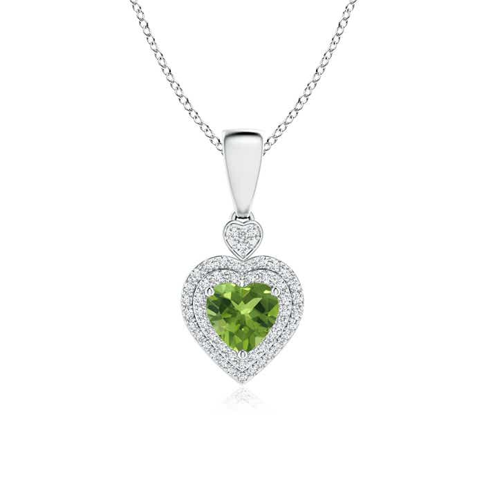 Angara Peridot Heart Pendant with Diamond Double Halo 5mwlorxdY