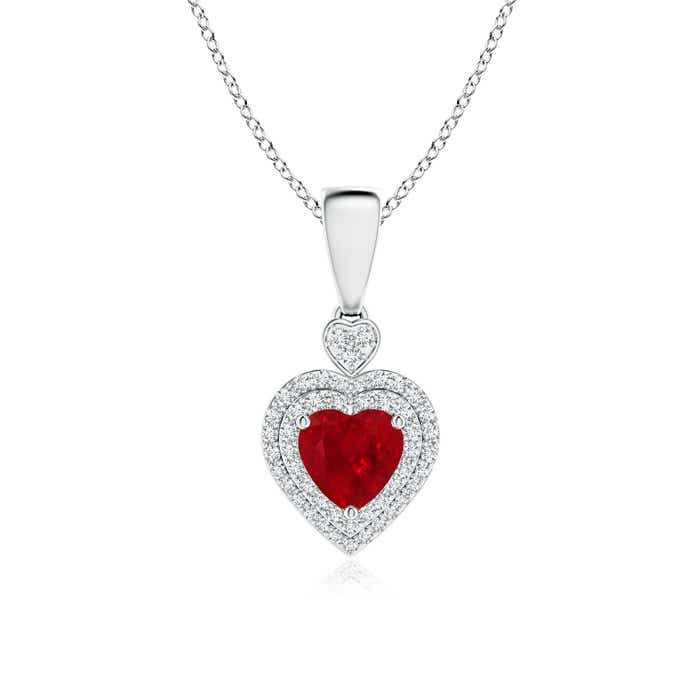 Angara Heart Diamond Ruby Pendant in 14k Yellow Gold bb4cywmNz