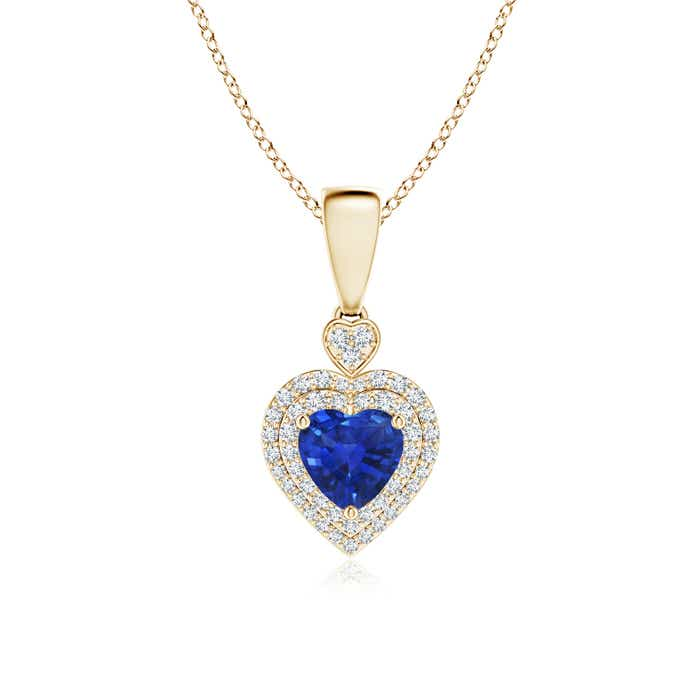 Angara Marquise Sapphire Diamond Double Halo Necklace in 14k White Gold