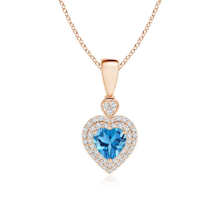 Angara Dangling Round Swiss Blue Topaz and Diamond Halo Pendant
