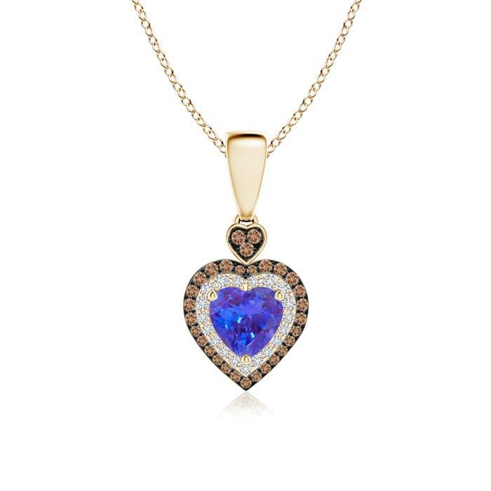 Angara Pave-Set Coffee Diamond Tilted Heart Pendant PSaOCz