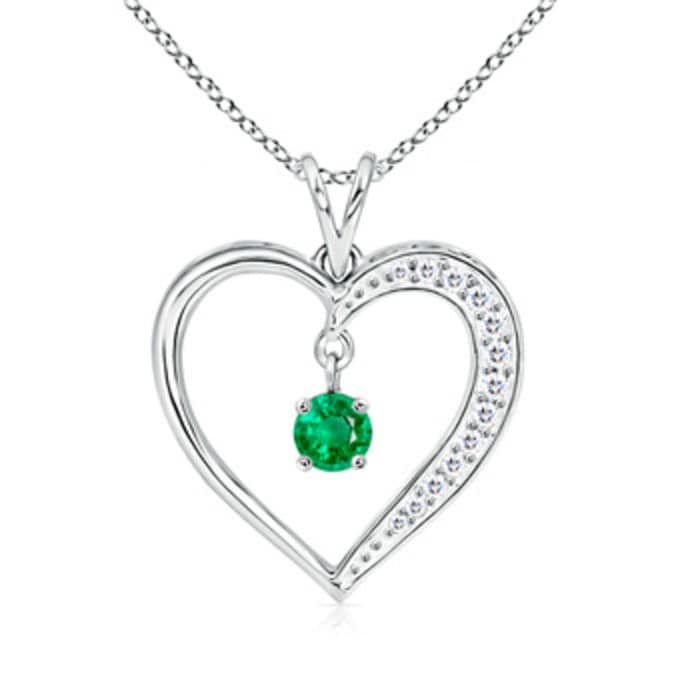 Angara Round Emerald Open Heart Necklace in White Gold LTKpZkB3