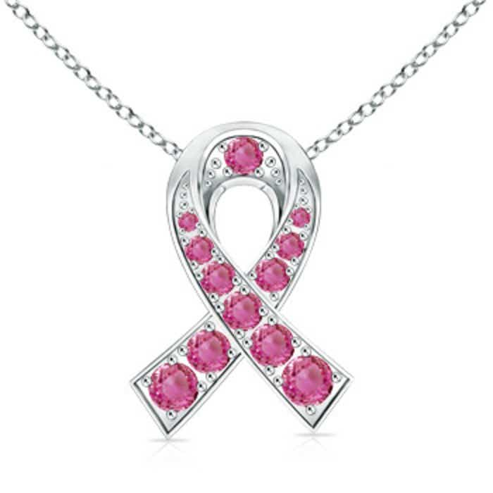 Angara Round Pink Sapphire Necklace Pendant in White Gold
