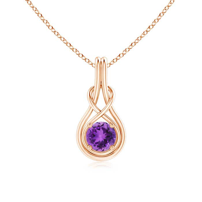 Angara Round Amethyst Necklace in Rose Gold 53y0aw0vKA