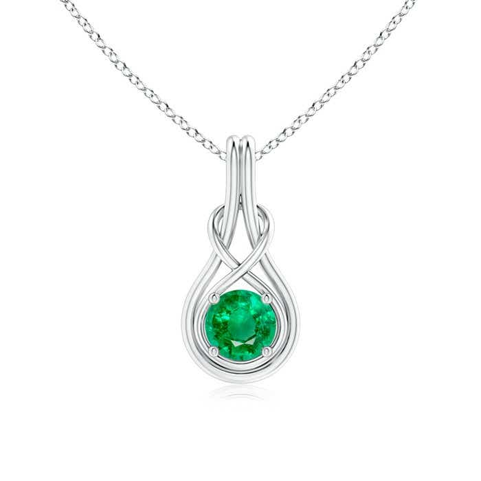 Angara Solitaire Emerald Knot Pendant in White Gold