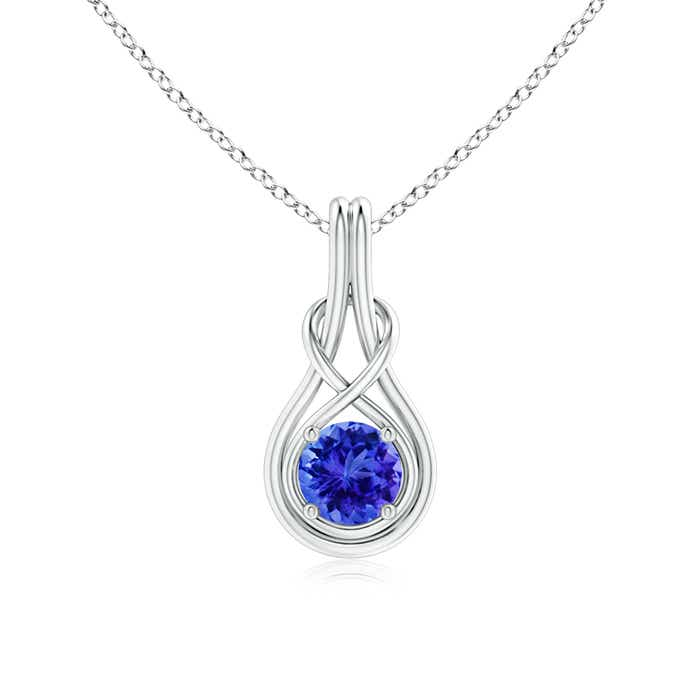 Angara Solitaire Round Tanzanite Infinity Knot Necklace in 14k White Gold 3tSP4zClb