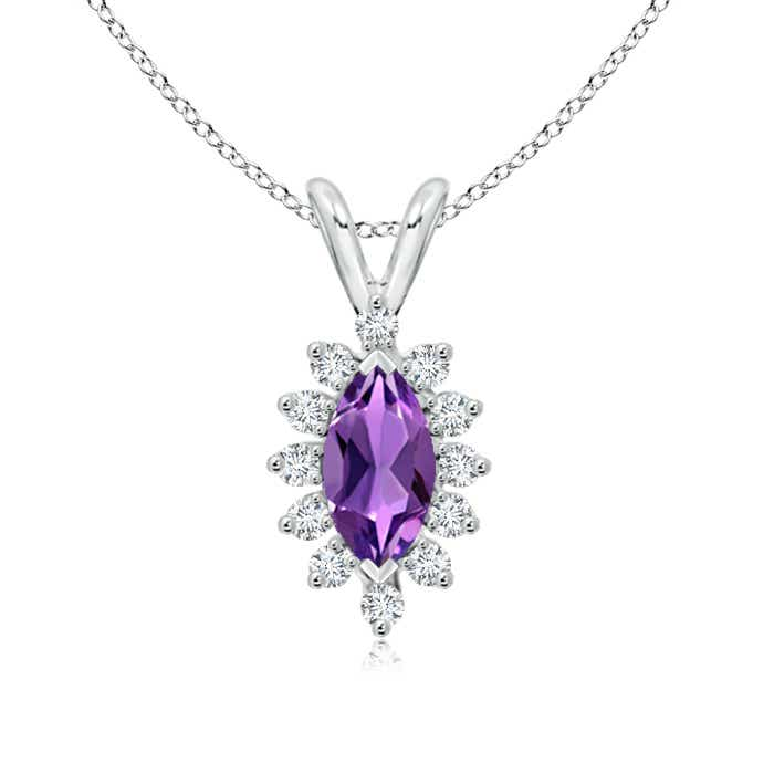 Angara Diamond Halo Amethyst Teardrop Pendant in White Gold