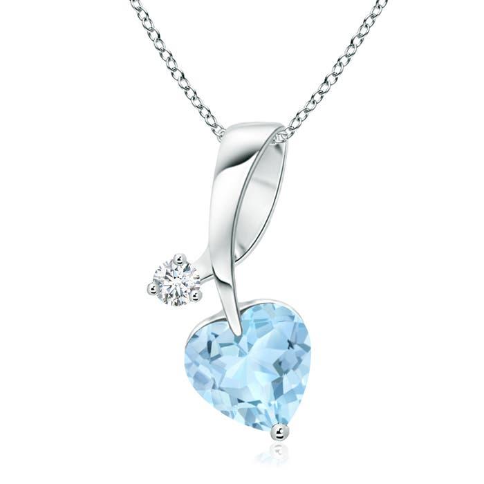 Angara Heart-Shaped Tanzanite Ribbon Pendant with Diamond pHOCZkSt9