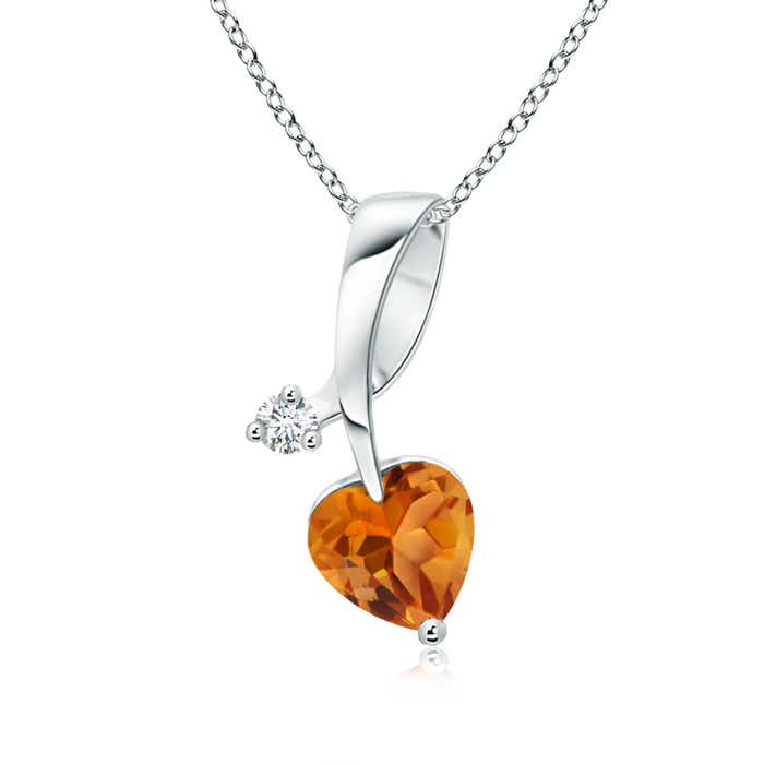 Angara Floating Citrine Heart Pendant with Diamond Halo in 14K White Gold 7Bt8w8e