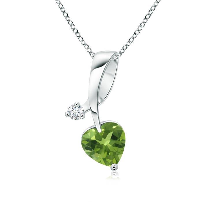 Angara Heart Shaped Peridot Ribbon Earrings with Diamond V6IAYD