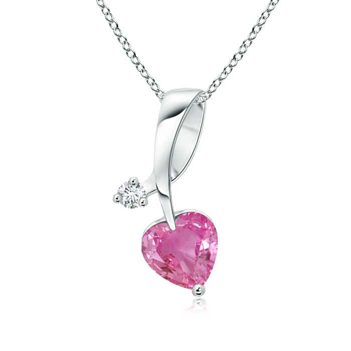 Angara Heart-Shaped Pink Sapphire Ribbon Pendant with Diamond hUIgMRJZp5