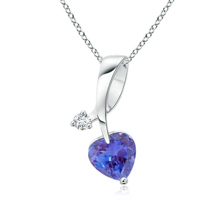 Angara Twin Tanzanite Heart Necklace in 14k White Gold vzJydbMQ6j