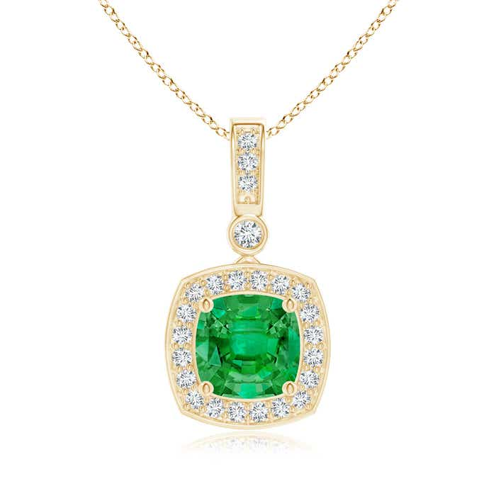 Angara Emerald-Cut Emerald Diamond Halo Pendant in White Gold