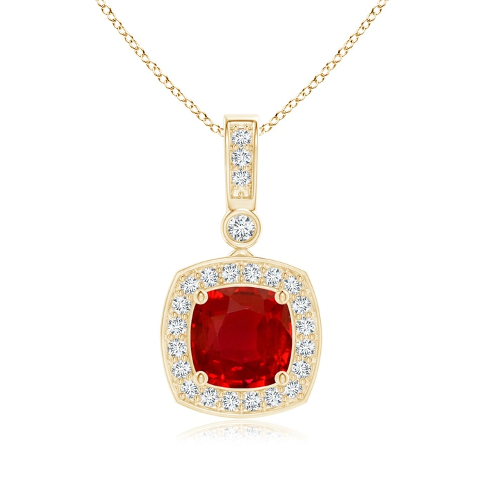 Angara Cushion Ruby Pendant with Diamond Halo y9bYggE