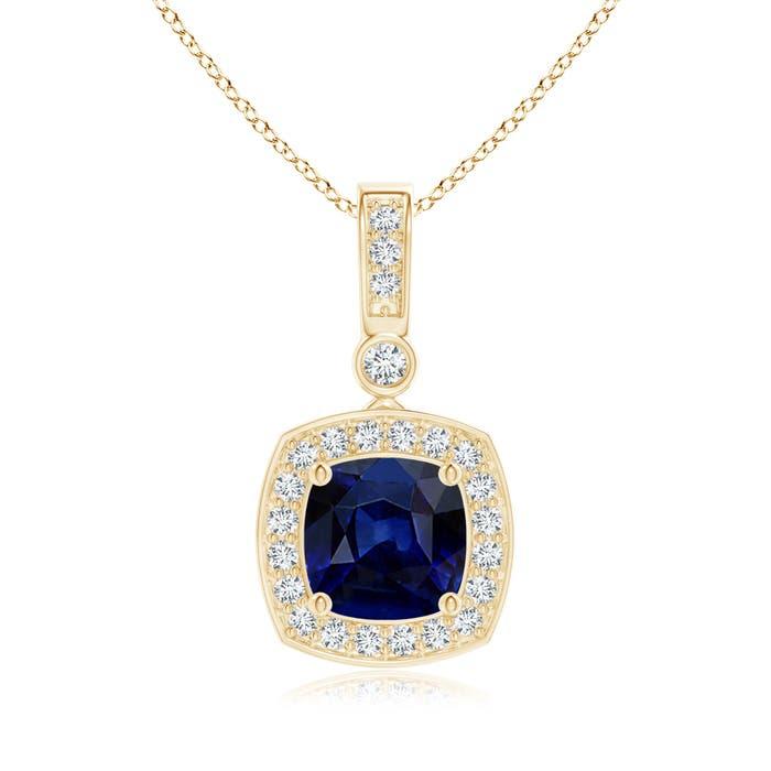 Angara Cushion Sapphire Pendant with Diamond Halo AcTCRI7tr