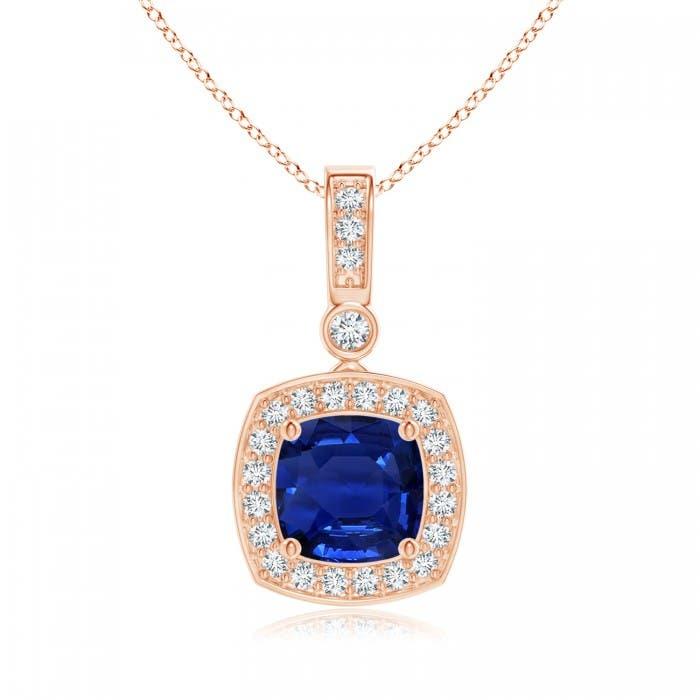 Angara GIA Certified Cushion Sapphire Pendant with Diamond Halo DHAKWKv